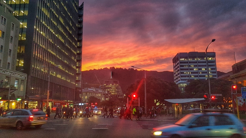 Sunset behind the Beehive in Wellington