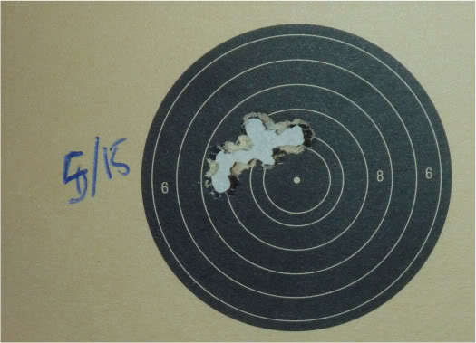 25 yard 5 shot group, within 15 mm.