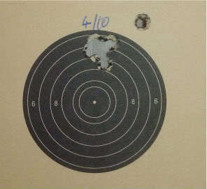 25 yard 4 shots within 10 mm, a pity about the flyer