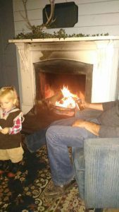 Enjoying the fire in the Hall 1